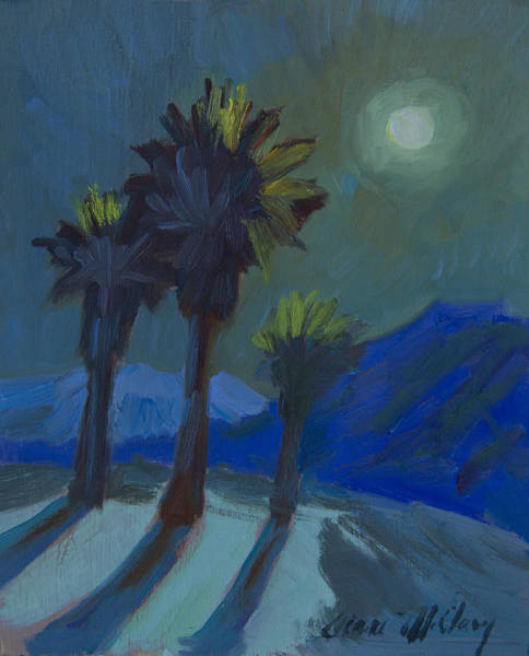 Wall Art - Painting - La Quinta Cove And Moonlight by Diane McClary