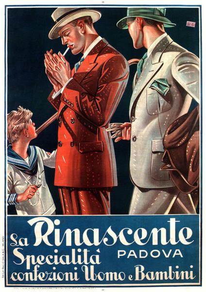 Clothing Mixed Media - La Rinascente - Clothing For Men - Italian Fashion - Padova, Italy - Vintage Advertising Poster by Studio Grafiikka