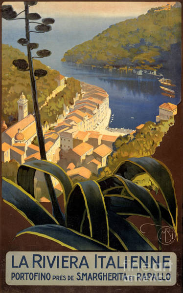 Wall Art - Painting - La Riviera Italienne Vintage Travel Poster Restored by Vintage Treasure