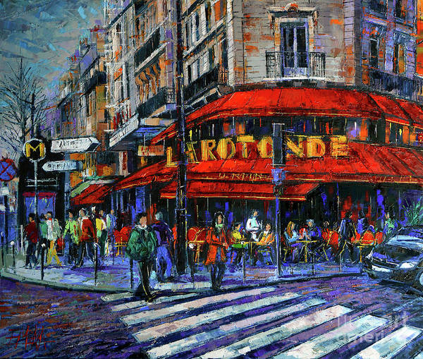 Urban Life Painting - La Rotonde Paris Modern Impressionist Palette Knife Oil Painting by Mona Edulesco