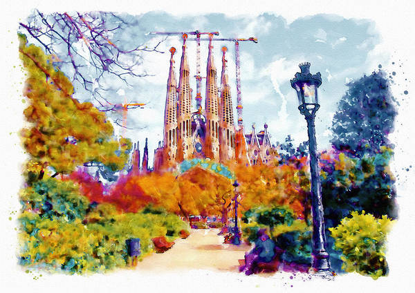 Aquarelle Painting - La Sagrada Familia - Park View by Marian Voicu