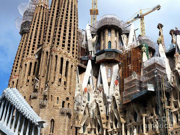 Photograph - La Sagrada Up Close Barcelona by John Rizzuto