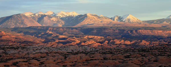 Photograph - La Sal Mountains At Sunset In Arches National Park by Pierre Leclerc Photography