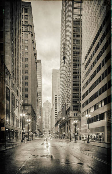 The Rookery Wall Art - Photograph - Lasalle Street Canyon With Chicago Board Of Trade Building At The South Side - Chicago Illinois by Silvio Ligutti
