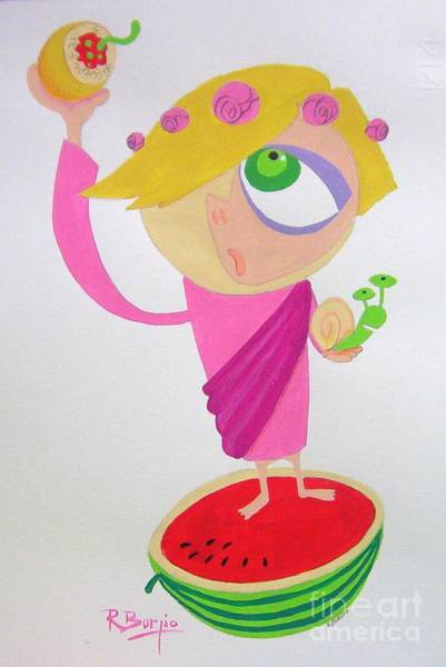 Watermellon Wall Art - Painting - la Santuzza by Raimondo Burgio