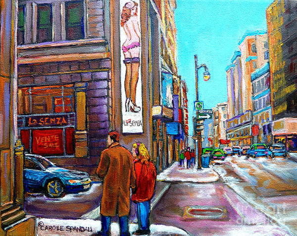 Painting - La Senza Lingerie  Rue Stanley Downtown Montreal Landmark  Montreal Carole Spandau  by Carole Spandau