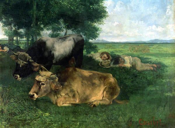 Pendant Painting - La Siesta Pendant La Saison Des Foins by Gustave Courbet