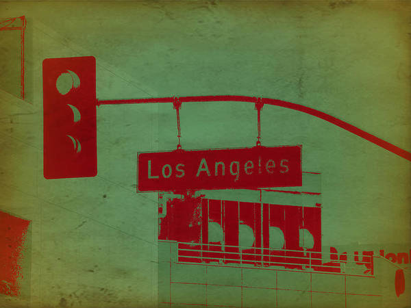 Angeles Photograph - La Street Ligh by Naxart Studio