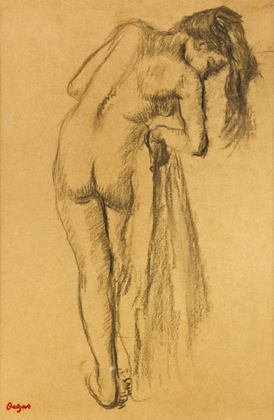Wall Art - Drawing - La Toilette Apres Le Bain by Edgar Degas