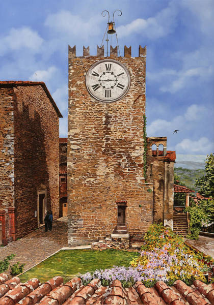 Clock Tower Painting - La Torre Del Carmine-montecatini Terme-tuscany by Guido Borelli
