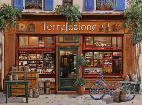 Flower Shop Painting - La Torrefazione by Guido Borelli