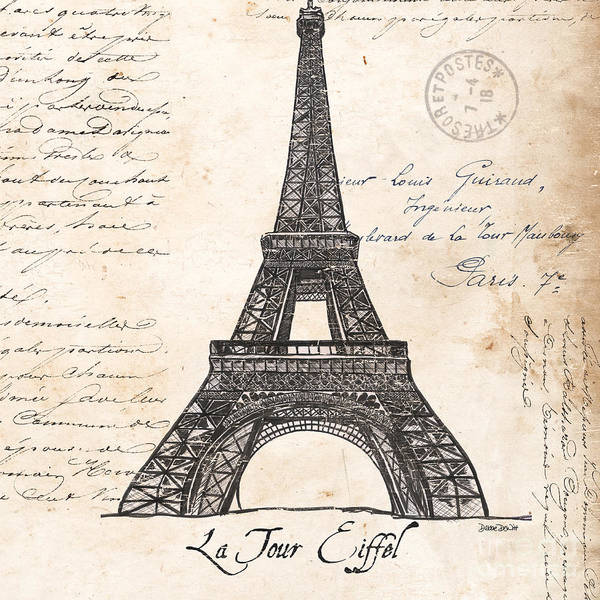 Vintage Wall Art - Painting - La Tour Eiffel by Debbie DeWitt