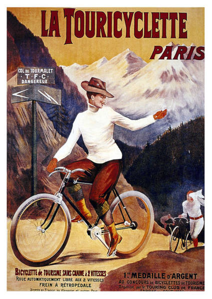 Wall Art - Mixed Media - La Touricyclette - Paris - Vintage French Advertising Poster by Studio Grafiikka