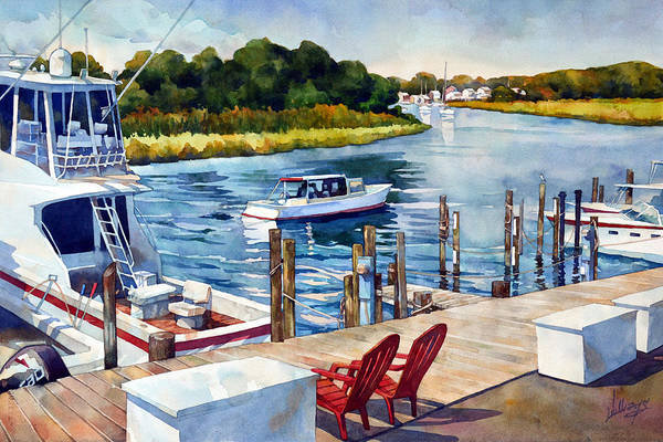 Waterway Painting - Labor Day by Mick Williams
