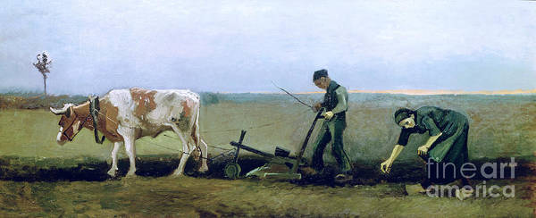 Ploughing Painting - Labourer And Peasant  by Vincent van Gogh