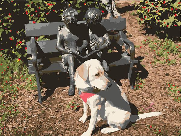 Park Bench Digital Art - Labrador Dog In Sculpture Park by Inge Lewis