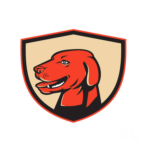 Golden Retriever Digital Art - Labrador Golden Retriever Dog Head Shield Retro by Aloysius Patrimonio