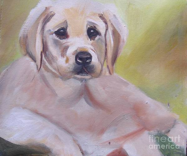 Wall Art - Painting - Labrador Puppy by Angela Cartner