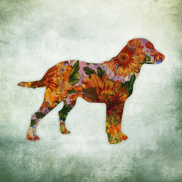 Standing Digital Art - Labrador Retriever Floral On Green by Flo Karp
