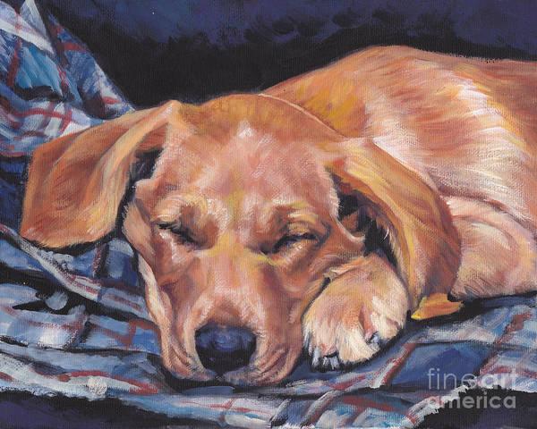 Pup Painting - Labrador Retriever Sleeping Pup by Lee Ann Shepard