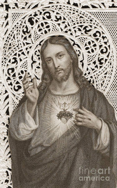 Devotion Wall Art - Painting - Lace Card Depicting The Sacred Heart Of Jesus by French School