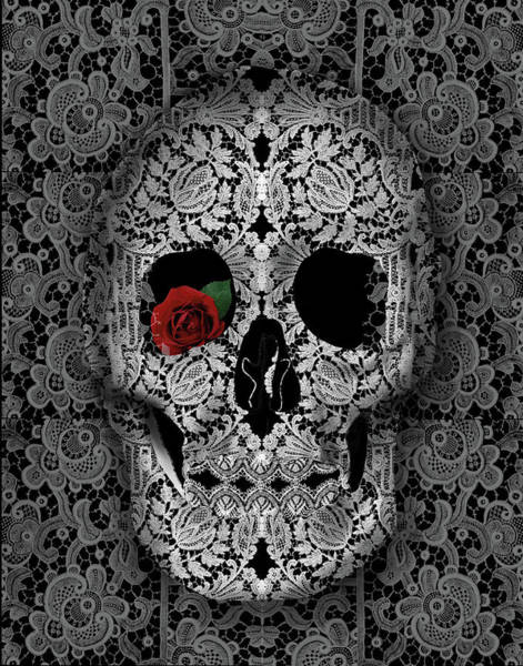 White Zombie Painting - Lace Skull Black by Bekim Art