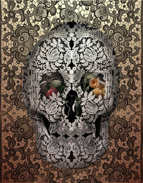 White Zombie Painting - Lace Skull Sepia by Bekim Art