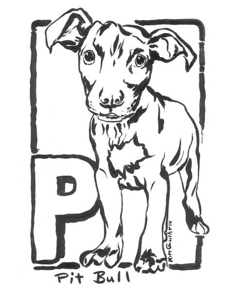 Wall Art - Painting - Black And White Drawing Of Pit Bull Dog by Kim Guthrie