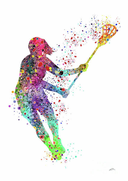 Wall Hanging Wall Art - Digital Art - Lacrosse Girl Player Sports Art Print Watercolor Print Girl's Lacrosse Illustration Lacrosse Art  by Svetla Tancheva