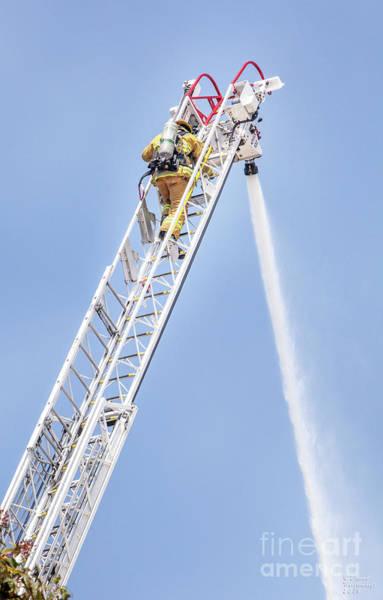 Photograph - Ladder Fireman by David Millenheft