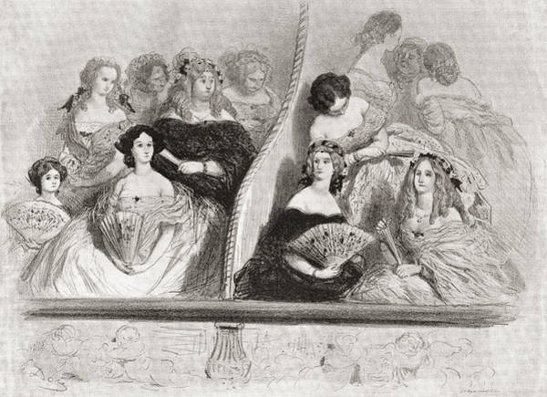 Wall Art - Drawing - Ladies At The Theatre, After A 19th by Vintage Design Pics