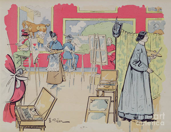 Classroom Painting - Ladies Attending A Painting Class, 1902 by E Thelem