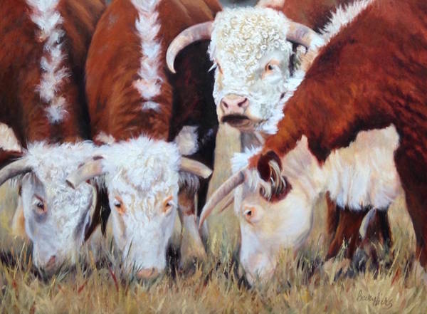 Hereford Bull Painting - Ladies First by Becky Hicks