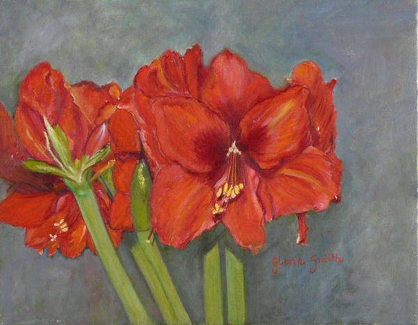 Amaryllis Painting - Ladies In Red by Gloria Smith