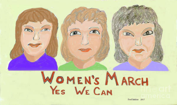 Ladies Marching Art Print by Fred Jinkins