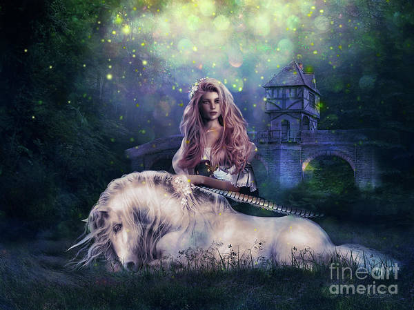 Unicorn Digital Art - Lady And The Unicorn by Shanina Conway