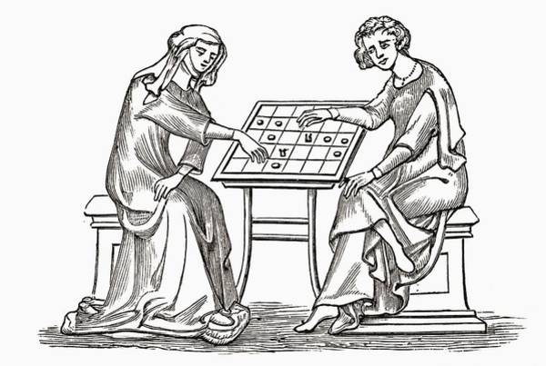 Checker Drawing - Lady And Youth Playing Draughts, Or by Vintage Design Pics