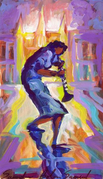 Wall Art - Painting - Lady Blue Plays Clarenet At The Saint Louis Cathedral by Saundra Bolen Samuel