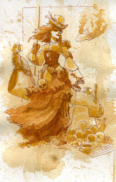 Steampunk Painting - Lady Bonney by Brian Kesinger