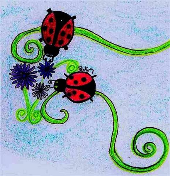 Lady Bug Drawing - Lady Bugs On Blue by Shannon Keavy