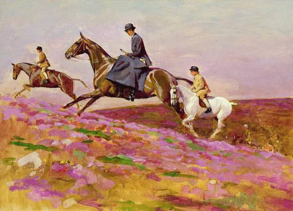 Windsor Wall Art - Painting - Lady Currie With Her Sons Bill And Hamish Hunting On Exmoor  by Cecil Charles Windsor Aldin