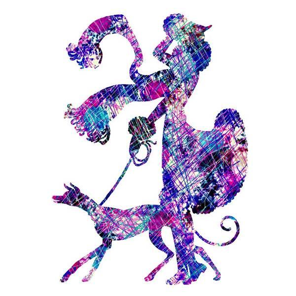Digital Art - Lady Dog Walker Splashes Transparent Background by Barbara St Jean