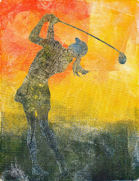 Mono Painting - Lady Golf Swing by Kirby Wilson