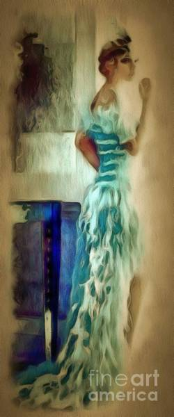 Painting - Lady In A Blue Dress In Ambiance by Catherine Lott
