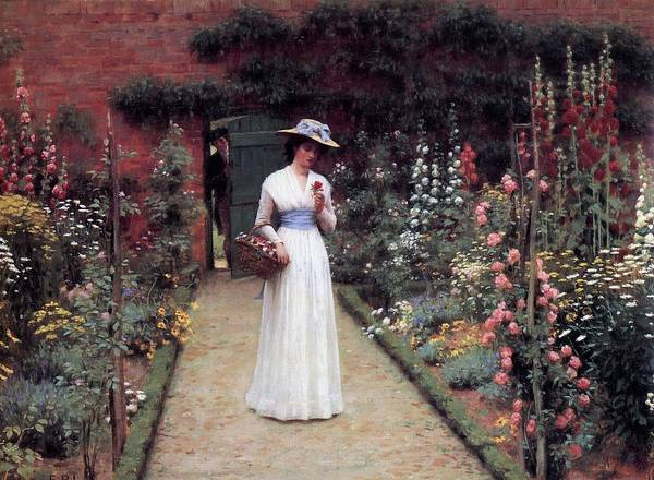 Painting - Lady In A Garden Edmund Leighton 1893 by Movie Poster Prints