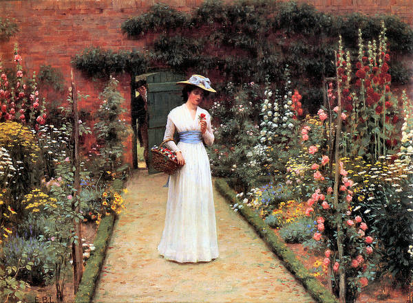 Painting - Lady In A Garden by Edward Blair Leighton