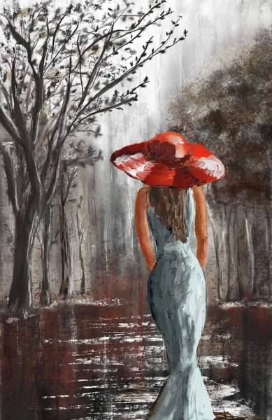 Digital Art - Lady In A Red Hat by Eduardo Tavares