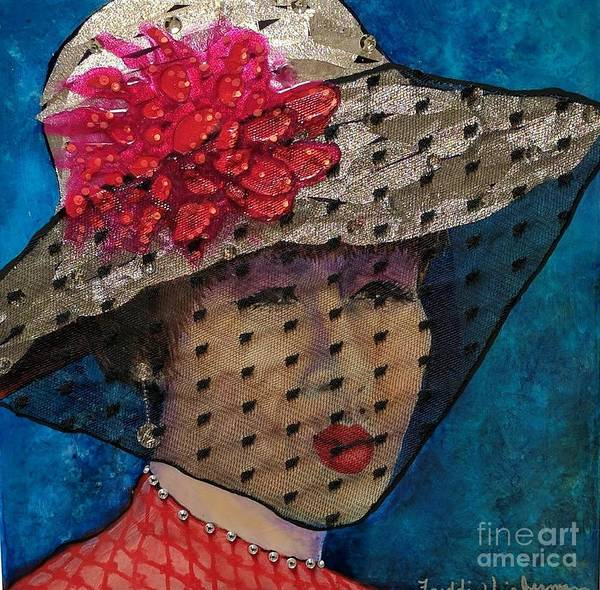 Netting Painting - Lady In A Veiled Hat by Freddie Lieberman