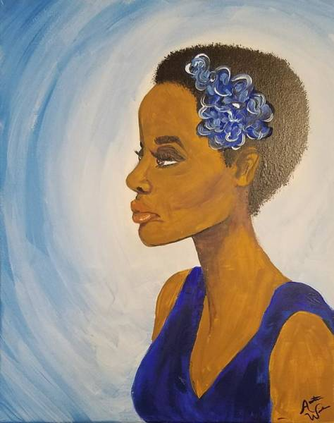 Blue Painting - Lady In Blue by Autumn Leaves Art