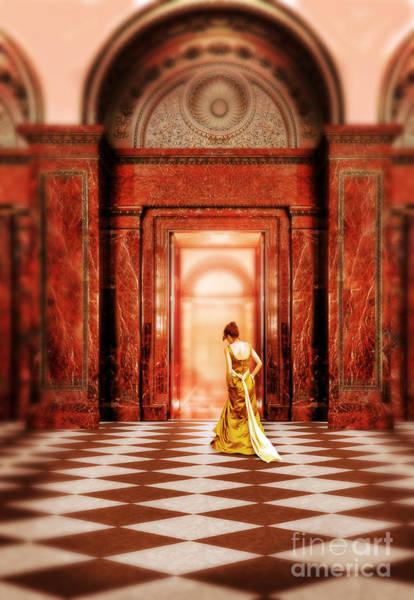 Wall Art - Photograph - Lady In Golden Gown Walking Through Doorway by Jill Battaglia